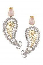 Tribebyamrapali-Silver Rose Paisley Earrings