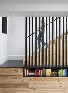 Floor level bookshelves and small steps