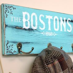 Personalized key holder and coat hook sign with last name & est. date, hand painted sea foam green