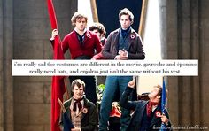 """"""" i'm really sad the costumes are different in the movie. gavroche and éponine really need hats, and enjolras just isn't the same without his vest. Les Miserables Poster, French Boys, I'm Fine, Monologues, Change My Life, Disappointed, Love S, Confessions, Dawn"""