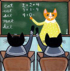 Back To School Cats Original Folk Art Painting by KilkennycatArt