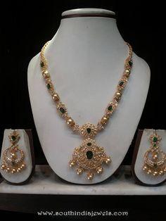 Gold CZ emerald necklace sets, CZ Stone Necklace Designs, Gold CZ Necklace Designs.