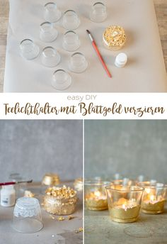 Instructions for home-made, inexpensive DIY decoration ideas for your table decoration for a wedding in a vintage look with gilded tealight holders. DIY simple and inexpensive: make your own deco ideas for your wedding Diy Simple, Easy Diy, Diy Wedding Lighting, Event Lighting, Diy Pinterest, The Bride, Diy Décoration, Decoration Table, Simple Weddings