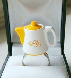 Happy Yellow Tea Pot Ring - Miniature Food Jewelry
