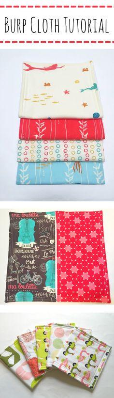 Burp Cloth Tutorial – Mary Martha Mama- How to make a quick and easy baby burp cloth- full tutorial with pictures for how to make a burp cloth (spit up rag)
