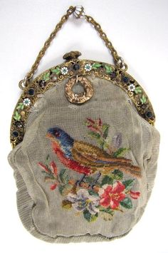 Antique Purse, Petit Point on Netting, Bird