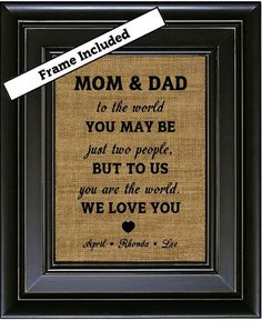 FRAMED Personalized Gift for MOM and DAD from Kids by BurlapNGlass