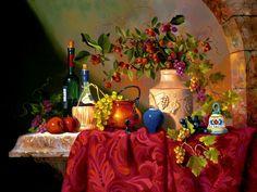 Фотографии Натюрморт Цветок Vase Фрукты Вино Обои