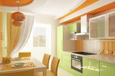Complementary Kitchen - This kitchen is complementary because the colours green and orange are opposite from each other on the colour wheel.