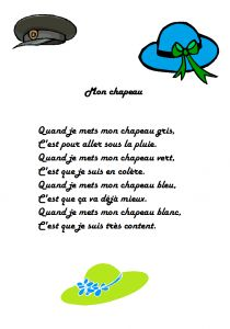 Comptine Mon chapeau pour apprendre  les couleurs French Teaching Resources, Teaching French, French Poems, French Practice, French Worksheets, Core French, French Education, Kids Poems, French Classroom