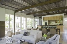 Open plan living, modern, yet rustic enough to be comfortable Home, Rustic House, House Design, Home Ceiling, Urban Decor, New Homes, Open Plan Living, New England Homes, Interior Design