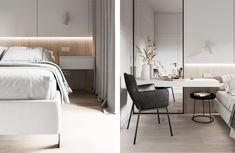 Check out this beautiful apartment created by Huge Studio  on nazzainteriordesign.com  #apartmentdesign #livingroom #kitchen #minimalistdesign #interiordesign #passionforinteriors #amazingspaces #bright #bedroom #bedroomdesign #makeuptable