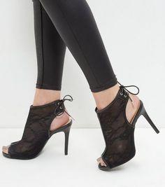 Wide Fit Black Lace Peep Toe Tie Back Heels   New Look