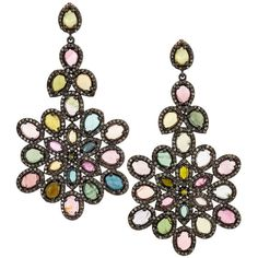 Bavna Multicolored Tourmaline & Diamond Drop Earrings ($3,360) ❤ liked on Polyvore featuring jewelry, earrings, silver, multi color jewelry, colorful earrings, post drop earrings, multicolor jewelry and multicolor earrings