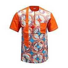 Men's Round Neck Short Sleeve Shirt – Orange Source by African Shirts For Men, African Wear Dresses, African Attire For Men, African Fashion Ankara, Chemise Fashion, Agbada Styles, Kaftan, African Wedding Attire, Men Store