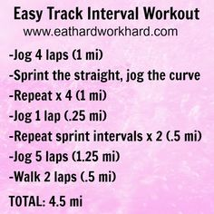 Eat Hard Work Hard: Easy Track Interval Workout and 10 Mile Training Plan