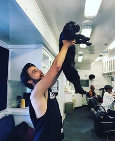 Jack with Aja's dog - BTS pic