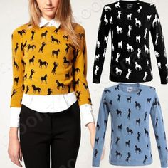 New Crewneck Horse Pattern Women's Knit Sweater Tops Smocked Casual T Shirts on eBay!