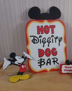 Mickey Mouse Birthday Party Sign Hot Diggity Dog Bar Party