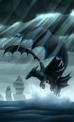 Night Fury dragon flying in the rain in the night sky Dragon Z, Fantasy Dragon, Cute Fantasy Creatures, Mythical Creatures Art, Dragon Pictures, Cool Pictures, Dragon Wallpaper Iphone, Night Fury Dragon, Httyd Dragons