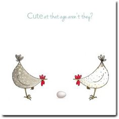 Cute At That Age Greeting Card - New Baby Card, New Parents Card, Expecting Card, Blank Inside, Chickens Chicken Humor, Chicken Art, Funny Chicken, New Baby Greetings, Chickens And Roosters, Ideias Diy, New Baby Cards, Watercolor Cards, Blank Cards
