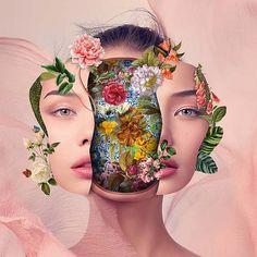 Les Collages colorés de Visages fleuris de Marcelo Monreal (4)