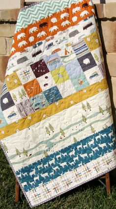 Camping Quilt Modern Stripes Bear Hiking by SunnysideDesigns2
