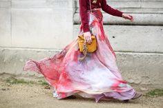 Paris Fashion Week - @rosannafalconer wears the Patina Galaxy chiffon skirt and Jewel Knit by Matthew Williamson #ohMW #PFW. Photo by Victoria Adamson.