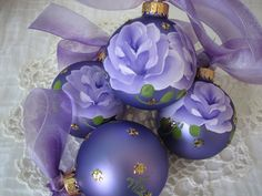 Purple Glass Ball Ornament Hand Painted Lilac by pinkrose1611
