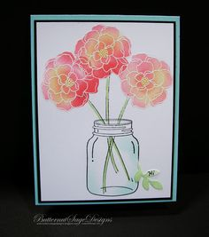 handmade card from Butternut Sage Designs .... gorgeous trio of flowers in a mason jar ... flowers embossed in white and sponged in red and yellow .. luv the soft coloring of the jar giving it dimension ...