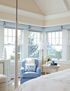 blue-and-white - minimizing the use of other colors makes it soothing and restful  --  Lakeside Cottage, Traditional HOme