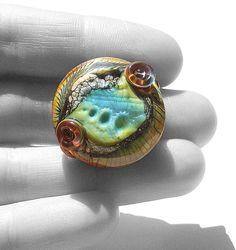 Ocean  Serpent Urchin EggSea Foam Shore handmade lampwork by Genea,