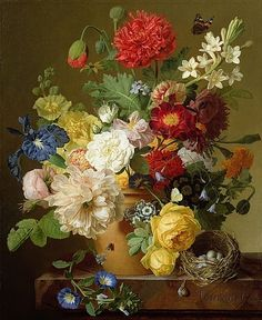 Classic wall art of a Flower Still Life on a marble ledge from 1800 via greatbigcanvas.com