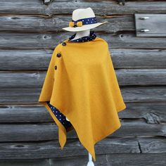 Harriet Hoot Yellow Polka Dot Harris Tweed Cape I Sewing Clothes Women, Diy Clothes, Clothes For Women, Capes For Women, Mode Outfits, Fashion Outfits, Mode Kimono, Harris Tweed, African Fashion Dresses