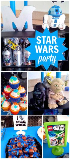 A Lego Star Wars themed boy birthday party with fun treats and party decorations! See more party planning ideas at CatchMyParty.com!