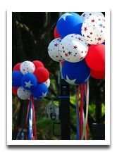 Red White and Blue Balloons for the Fourth of July  To make the balloon shimmer like fireworks, blow it up and spray it lightly with craft glue. Sprinkle on some glitter and you're done! Fast, easy and the visual impact is a lot of fun.