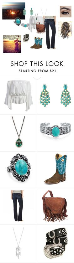 """""""Bonfire Time"""" by danielamena on Polyvore featuring Aurélie Bidermann, Armenta, Bling Jewelry, Justin Boots, Wrangler, Lucky Brand, country, cute and teal"""