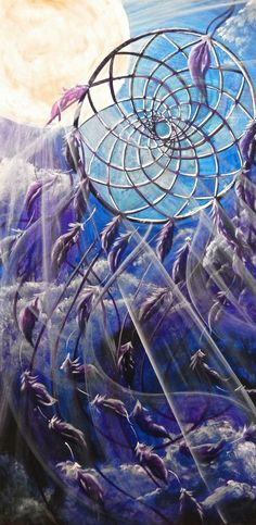 Nature and flowers painting by a Vancouver Island artist www.suzannart.com #dreamcatcher #art #moon #purple Vancouver Island, Sacred Geometry, Dream Catcher, Moon, Purple, Artist, Nature, Flowers, Painting
