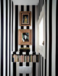 Miami Wohnung Schwarz Weiße Tapeten Streifen Schick Modern