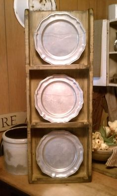 Plate rack I made earlier in the month for my pewter plates - in Olde Forge Mustard