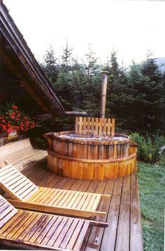wood burning cedar hot tub