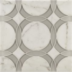 rockefeller circle medium mosaic in moonstone white frost glass, moonstone white clear glass and calacatta oro stone