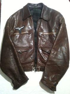 Ww2 Luftwaffe Hartmann Leather German Fighter Pilots Jacket,badge,EK1,Flight Bag
