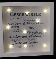 Picture Frame Illuminated Siblings - Picture Frames - Home Accessories - Mi .- Bilderrahmen Illuminated Siblings – Picture Frames – Home Accessories – Handmade with love in substreizbach, Germany by windelwerkstatt Unusual Gifts, Sister Gifts, Siblings, Picture Quotes, Diy Gifts, Picture Frames, Picture Walls, Personalized Gifts, About Me Blog