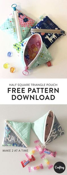 The Half Square Triangle Pouch is a flat square-shaped quilted pouch with a zipper running diagonally across the front. This pouch is a great weekend sewing project for an intermediate. Get the free pattern at Craftsy.