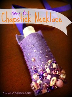 How to make a chap stick holder necklace... for those kids who always have dry, chapped lips in the cold and dry winter months, but can't seem to keep track of their chap stick!  This is simple enough for older children to make.  My girls love them!