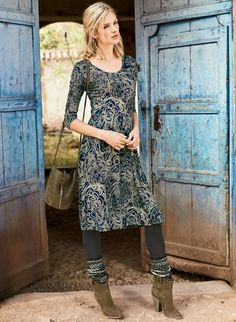 From day to evening, this drapy viscose and elastane jersey dress is a  one-piece wonder. Swirling paisleys are printed in antique shades of  pewter, ...