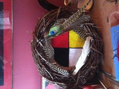 Cherokee protection symbol wreath, I made for a friend.