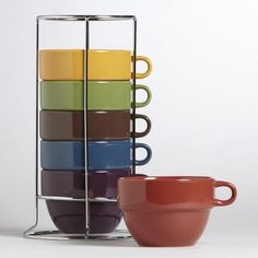 Entertaining & Kitchen :: World Market :: Tradewinds Multicolor Stacking Mugs Kitchen Colour Schemes, Kitchen Colors, Kitchen Dinning Room, Plates And Bowls, Soup Bowls, World Market, Ceramic Plates, Mugs Set, Cool Items