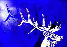 Blue stag painting arcylic and gold by Bea Bohl artist from Berlin Artist, Painting, Fine Art, Moose Art
